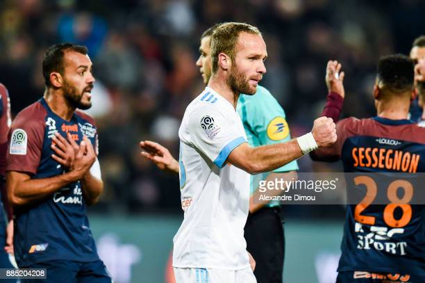 Valere Germain of Marseille celebrates the Penalty for his Team during the Ligue 1 match between Montpellier Herault SC and Olympique Marseille at...