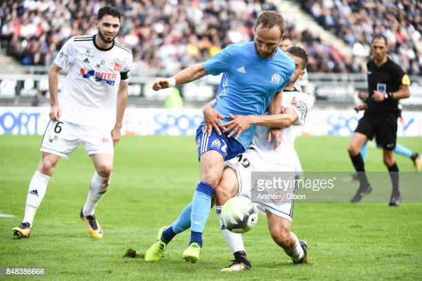 Valere Germain of Marseille during the Ligue 1 match between Amiens SC and Olympique Marseille at Stade de la Licorne on September 17 2017 in Amiens