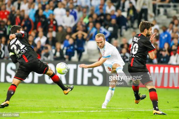 Valere Germain of Marseille during the Ligue 1 match between Olympique Marseille and Stade Rennais at Stade Velodrome on September 10 2017 in...