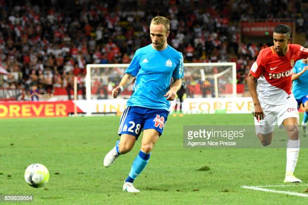 Valere Germain of Marseille during the Ligue 1 match between AS Monaco and Olympique Marseille at Stade Louis II on August 27 2017 in Monaco