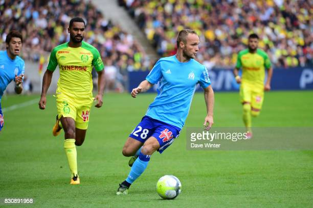 Valere Germain of Marseille during the Ligue 1 match between FC Nantes and Olympique Marseille at Stade de la Beaujoire on August 12 2017 in Nantes