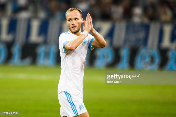 Valere Germain of Marseille during the UEFA Europa League qualifying match between Marseille and Ostende at Stade Velodrome on July 27 2017 in...