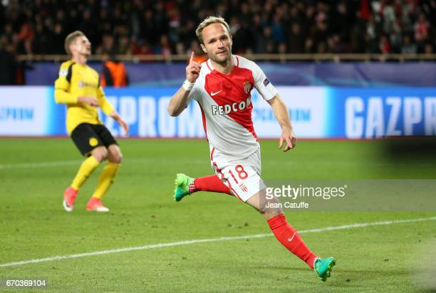 Valere Germain of Monaco celebrates his goal during the UEFA Champions League quarter final second leg match between AS Monaco and Borussia Dortmund...