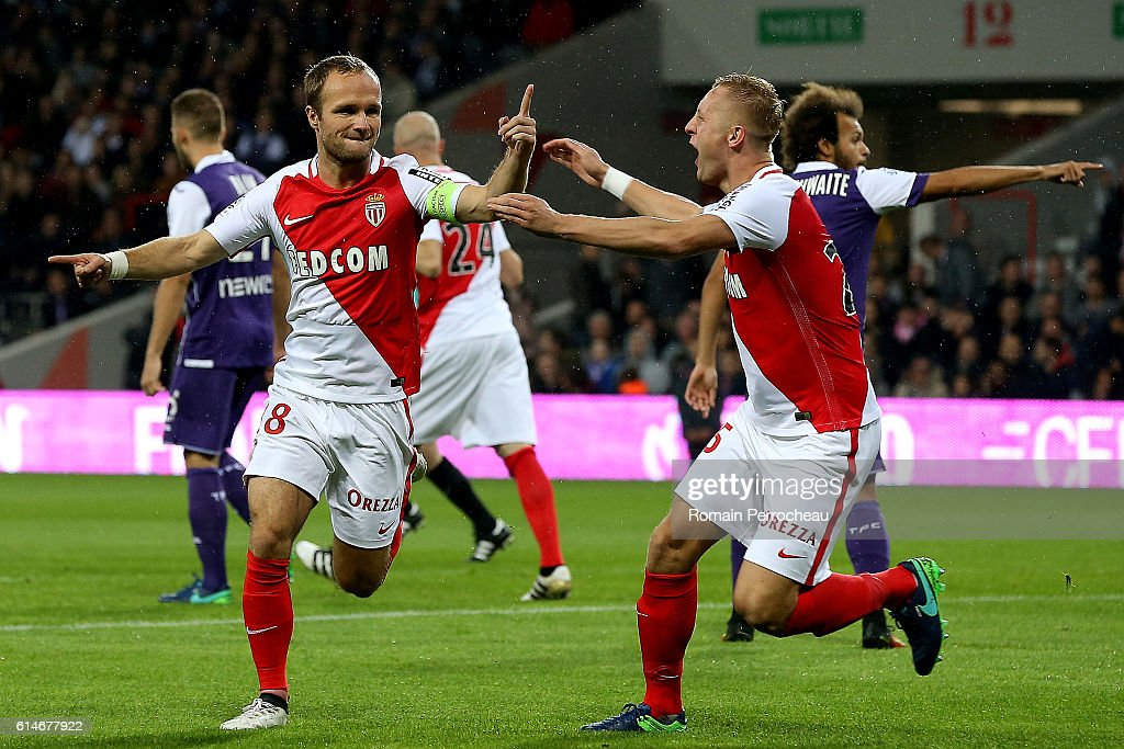 Valere Germain of Monaco reacts after his goal during the French Ligue 1 match between Toulouse and Monaco at Stadium on October 14, 2016 in Toulouse, France.