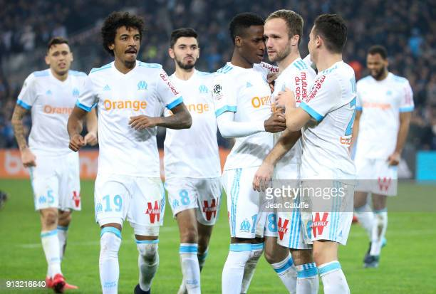 Valere Germain of OM celebrates his goal with Lucas Ocampos Luiz Gustavo Morgan Sanson Bouna Sarr Florian Thauvin during the French Ligue 1 match...