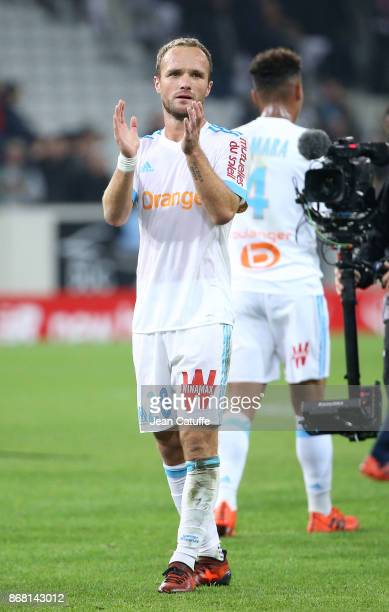 Valere Germain of OM salutes the fans following the French Ligue 1 match between Lille OSC and Olympique de Marseille at Stade Pierre Mauroy on...