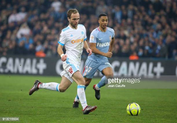 Valere Germain of OM Youri Tielemans of Monaco during the French Ligue 1 match between Olympique de Marseille and AS Monaco at Stade Velodrome on...