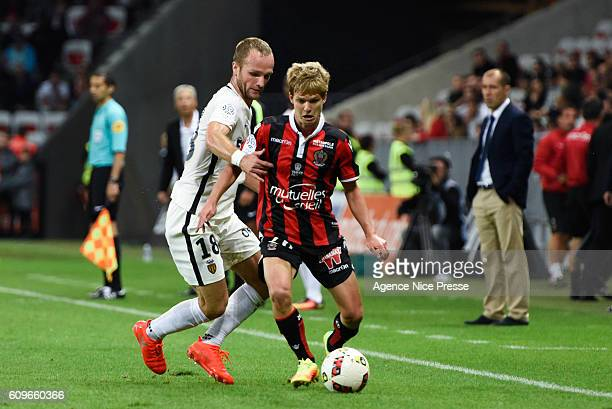 Valere Germain player of Monaco and Vincent Koziello player of Nice during the French Ligue 1 game between OGC Nice and AS Monaco on September 21...