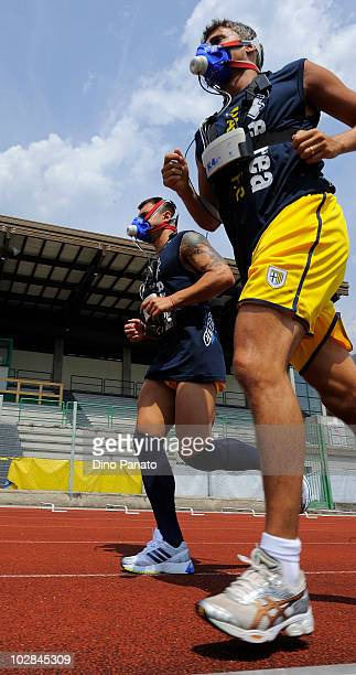 Valeri Bojinov and Hernan Crespo of Parma during medical tests at the preseason training session on July 13 2010 in Levico Terme near Trento Italy