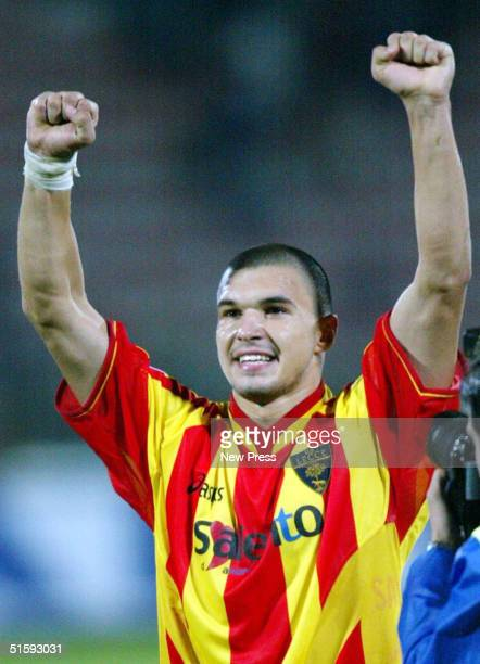 Valeri Bojinov of Lecce celebrates during the Seria A match between Inter Milan and Lecce on October 27 2004 at Via del Mare Stadium in Lecce Italy