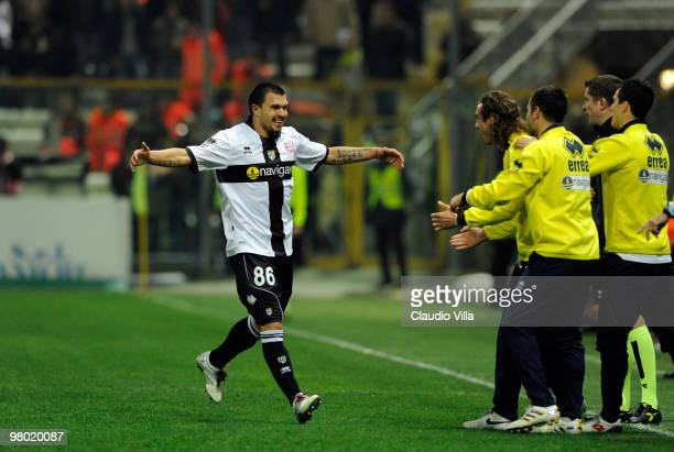 Valeri Bojinov of Parma FC celebrates after scoring the first goal during the Serie A match between Parma FC and AC Milan at Stadio Ennio Tardini on...