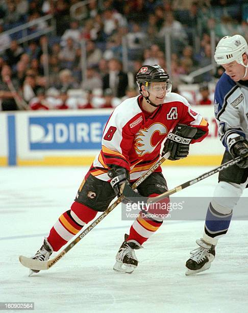 Valeri Bure of the Calgary Flames skates during the NHL game against the Los Angeles Kings at Staples Center circa March 2000 in Los Angeles,...