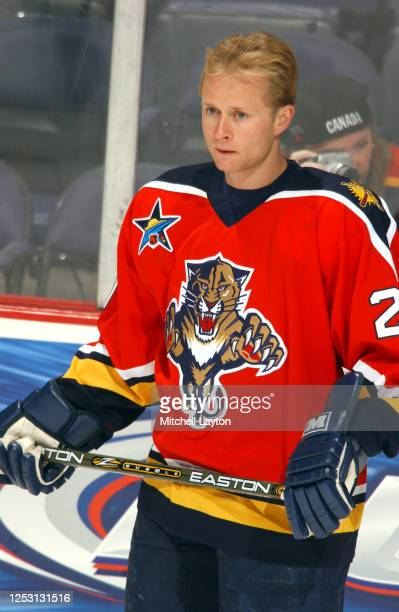 Valeri Bure of the Florida Panthers looks on before a NHL hockey game against the Washington Capitals at MCI Center on January 11, 2003 in...