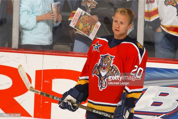 Valeri Bure of the Florida Panthers looks on before a NHL hockey game against the Washington Capitals at MCI Center on November 7, 2002 in...