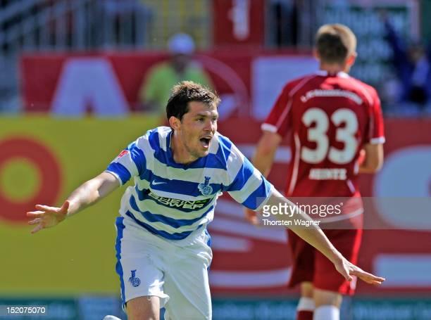 Valeri Domovchiyski of Duisburg celebrates after scoring his teams first goal during the second Bundesliga match between 1FC Kaiserslautern and MSV...