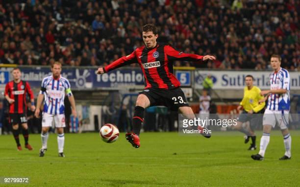 Valeri Domovchiyski of Hertha runs with the ball during the UEFA Europa League group D match between SC Heerenveen and Hertha BSC Berlin at Abe...