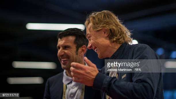 Valeri Karpin of Russia shares a laugh with Luis Figo of UEFA during the FIFA Congress Delegation Football Tournament at CSKA Arena during the on...