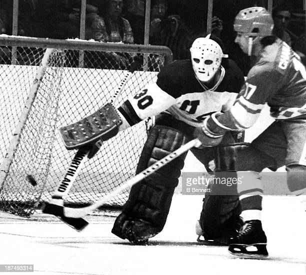Valeri Kharlamov of the Soviet Union scores on goalie Jim Craig of Team USA during an 1980 exhibition game on February 9 1980 at the Madison Square...
