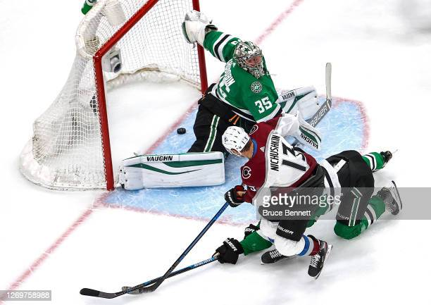 Valeri Nichushkin of the Colorado Avalanche scores a goal past Anton Khudobin of the Dallas Stars during the second period in Game Four of the...