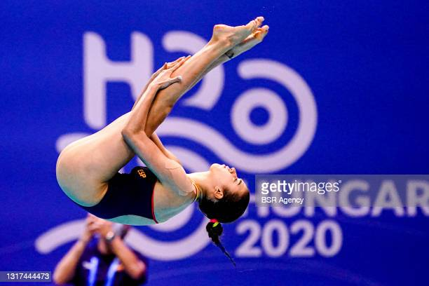 Valeria Antolino Pacheco of Spain competing at the Team Event Preliminary during the LEN European Aquatics Championships 1m Springboard Preliminary...