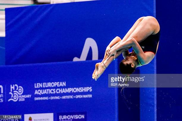 Valeria Antolino Pacheco of Spain competing at the Team Event Final during the LEN European Aquatics Championships 1m Springboard Preliminary at Duna...