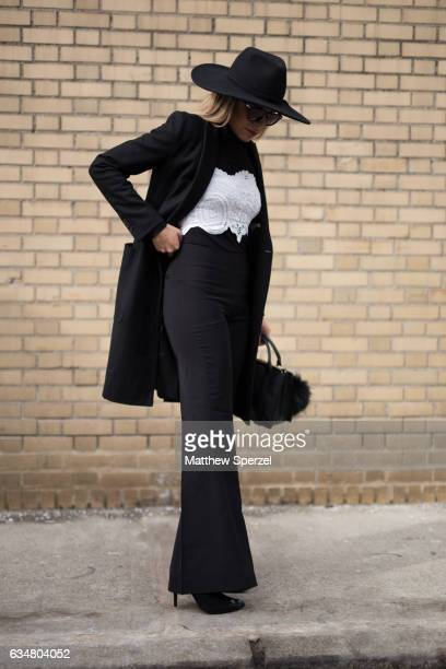 Valeria Barrientos is seen attending Taoray Wang/Creatures of the Wind during New York Fashion Week wearing Zara and Theory on February 11 2017 in...