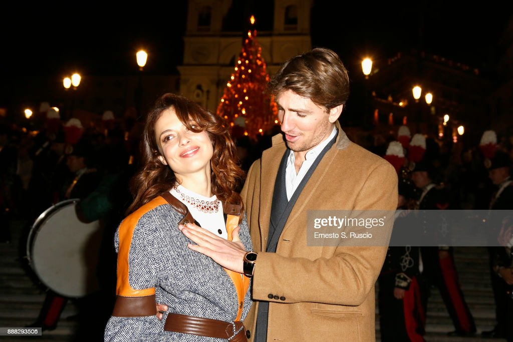 Valeria Bilello and Alan Cappelli Goetz attend Christmas Lights At Bvlgari Boutique Rome on December 7, 2017 in Rome, Italy.