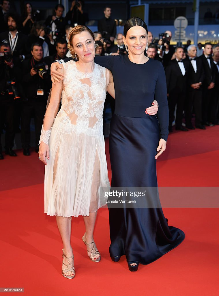 Valeria Bruni Tedeschi and Juliette Binoche attend the 'Slack Bay (Ma Loute)' premiere during the 69th annual Cannes Film Festival at the Palais des Festivals on May 13, 2016 in Cannes, France.