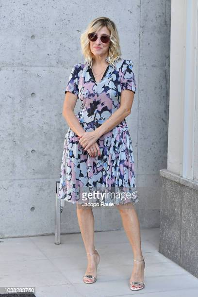 Valeria Bruni Tedeschi arrives at the Giorgio Armani show during Milan Fashion Week Spring/Summer 2019 on September 23 2018 in Milan Italy