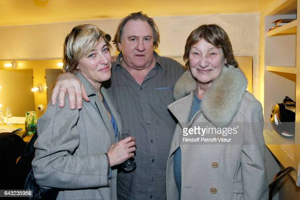 Valeria Bruni Tedeschi Gerard Depardieu and Marisa Bruni Tedeschi pose Backstage after Gerard Depardieu sings Barbara accompanied on the piano of...