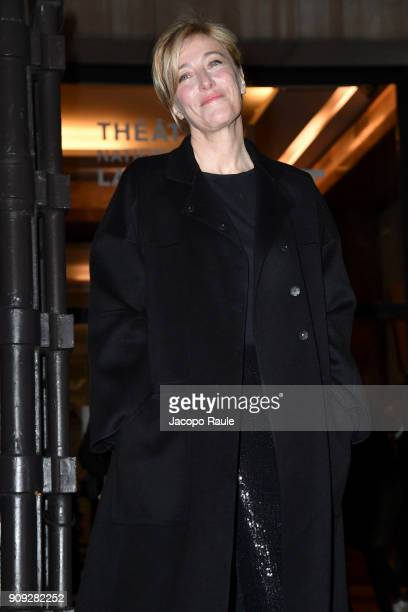 Valeria Bruni Tedeschi is seen arriving at Armani Prive Fashion show during Paris Fashion Week Haute Couture Spring/Summer 2018 on January 23 2018 in...