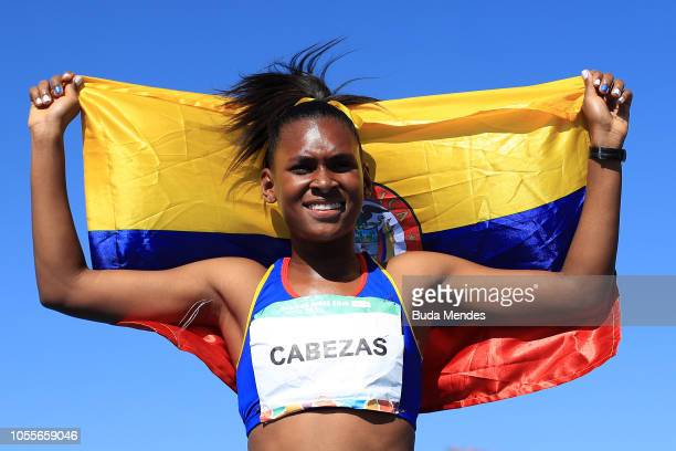 Valeria Cabezas Caracas of Colombia celebrates her gold medal in Women's 400m Hurdles during day 10 of Buenos Aires 2018 Youth Olympic Games at Youth...