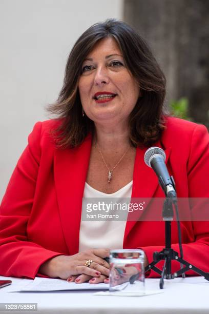 Valeria Ciarambino attends the press conference on June 15, 2021 in Naples, Italy. The political head of the 5 Star Movement and former Prime...