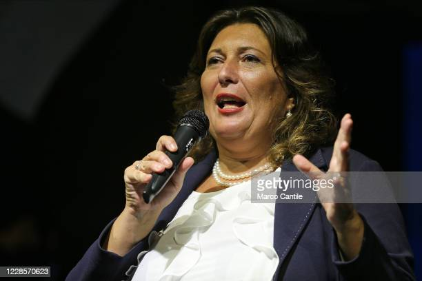 Valeria Ciarambino, candidate president and member of the political party Movimento 5 Stelle, during the rally, for the regional elections in...