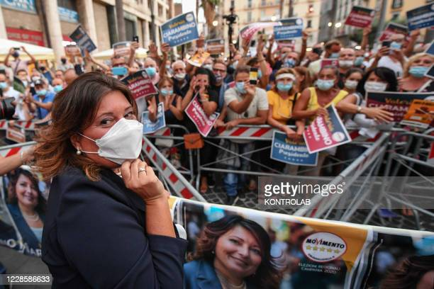 Valeria Ciarambino, presidential candidate and member of the political party Movement 5 Stars , during the rally, for the regional elections in...