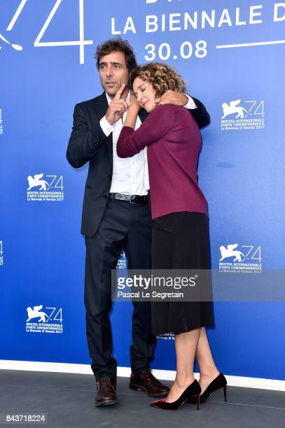 Valeria Golino and Adriano Giannini attend the 'Emma ' photocall during the 74th Venice Film Festival at Sala Casino on September 7 2017 in Venice...