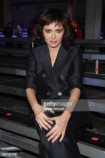 Valeria Golino arrives at the Dsquared2 show during Milan Men's Fashion Week Fall/Winter 2017/18 on January 15 2017 in Milan Italy