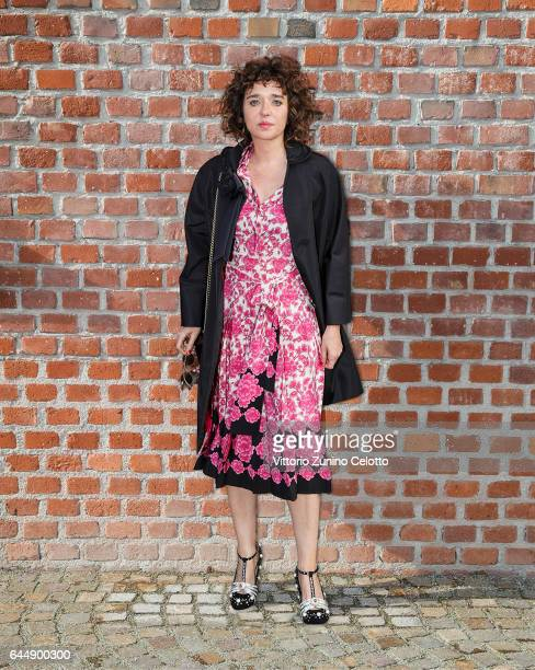 Valeria Golino arrives at the Gucciy show during Milan Fashion Week Fall/Winter 2017/18 on February 22 2017 in Milan Italy