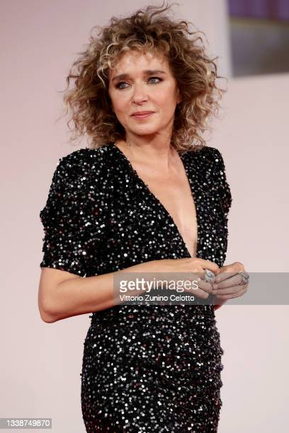 """Valeria Golino attends the red carpet of the movie """"La Scuola Cattolica"""" during the 78th Venice International Film Festival on September 06, 2021 in..."""