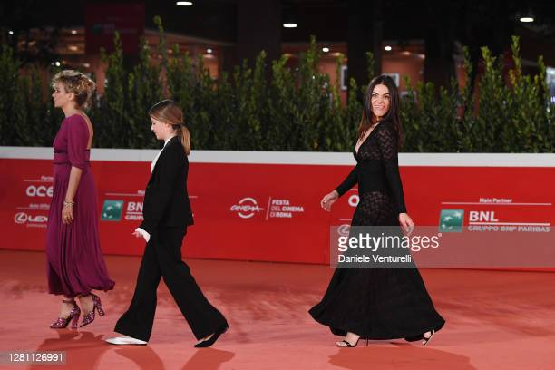 """Valeria Golino, Cristina Magnotti and Pina Turco attend the red carpet of the movie """"Fortuna"""" during the 15th Rome Film Festival on October 19, 2020..."""