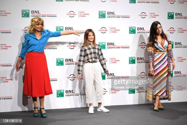 """Valeria Golino, Cristina Magnotti and Pina Turco attends the photocall of the movie """"Fortuna"""" during the 15th Rome Film Festival on October 19, 2020..."""