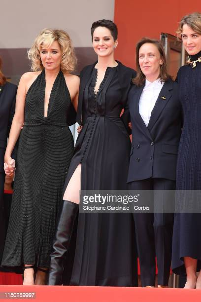 Valeria Golino Noemie Merlant Celine Sciamma and Adele Haenel attend the screening of Portrait Of A Lady On Fire during the 72nd annual Cannes Film...