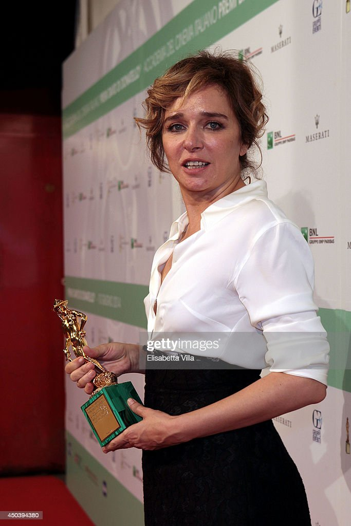 Valeria Golino poses with the best actress in a supporting role award for 'Il Capitale Umano' as she attends the David Di Donatello Awards Ceremony at the Dear Studios on June 10, 2014 in Rome, Italy.