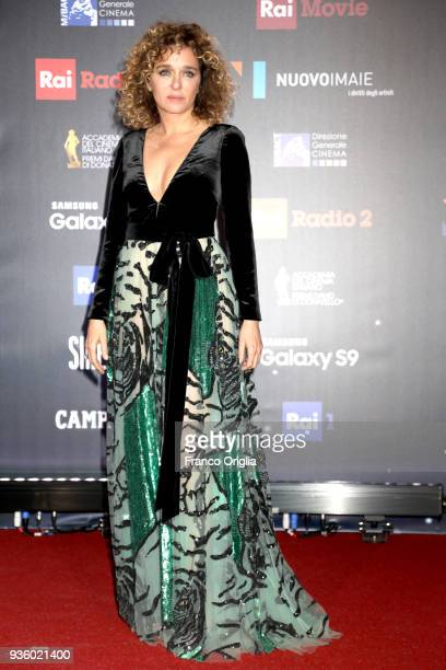 Valeria Golino walks a red carpet ahead of the 62nd David Di Donatello awards ceremony on March 21 2018 in Rome Italy