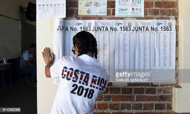 Valeria Gonzalez votes for the first time at the Porfiro Brenes school in Moravia San Jose on February 4 2018 Polling stations opened in Costa Rica...
