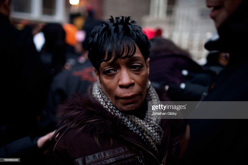 Valeria Hanks, the great aunt of slain infant Jonylah Watkins mourns during a vigil on March 12, 2013 in Chicago, Illinois. The 6-month-old girl was shot five times on the 6500 block of South Maryland Avenue while her father was changing her diaper in the passenger seat of his car. The father, Jonathan Watkins remains is stable condition at Nothwestern Memorial Hospital after receiving three gunshot wounds.