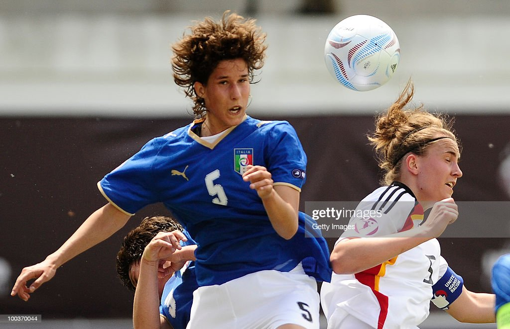 Valeria Kleiner (R) of Germany heads for the ball with Roberta Filippozzi of Italy during the UEFA Women's Under-19 European Championship group A match between Germany and Italy at Milano Arena on May 24, 2010 in Kumanovo, Macedonia.