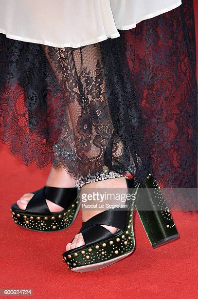Valeria Kozhevnikova shoes detail attends the premiere of 'Planetarium' during the 73rd Venice Film Festival at Sala Grande on September 8 2016 in...