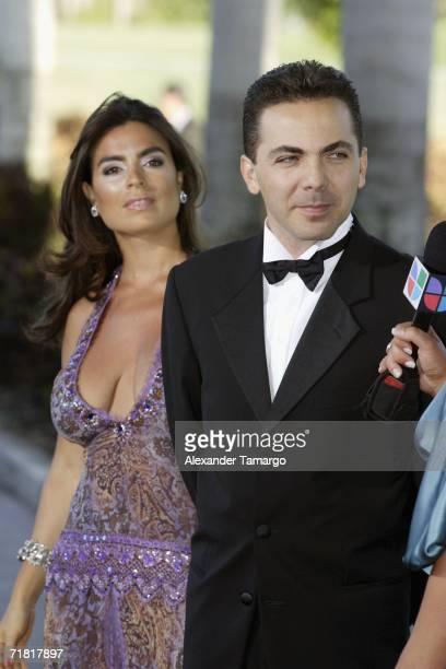 Valeria Liberman and Cristian Castro attend Univision studios for the special Latin Grammy Celebra Nuestra Musica 2006 on September 7 2006 in Miami...