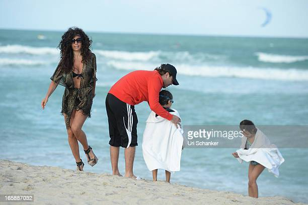 Valeria Liberman Cristian Castro Mikhail Castro and Simone Castro are sighted on April 6 2013 in Miami Beach Florida